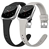 Tobfit Silicone Slim Bands Compatible for Fitbit Versa/Lite/SE, Narrow & Thin Sport Wristband with Metal Buckle for Women/Men
