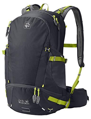Jack Wolfskin Moab Jam 30L Versatile Dual Chamber Biking Backpack with Rain Cover, Ebony