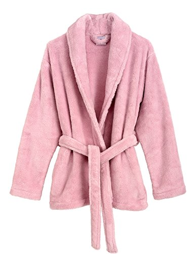 TowelSelections Women's Bed Jacket Fleece Cardigan Cuddly Robe Large/X-Large Chalk Pink