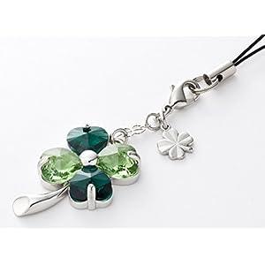 Kisaragi Cell phone Strap026 four-leaf clover (Emerald + peridot) 2