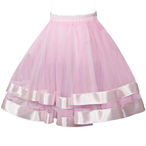 Topdress Women's 1950s Tutu Short Petticoat Skirt Crinoline Underskirt Slip Pink S/M ()