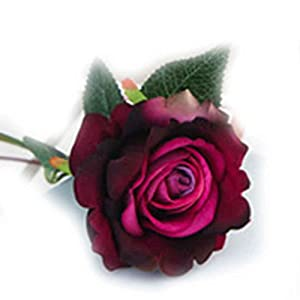 XuanhemenL Plastic Fabric Silk Artificial Rose Flower Arrangement for Wedding Home Décor Purple 18