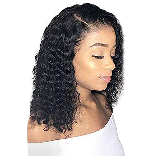 Clearance Glueless Lace Front Wigs - Brazilian Virgin Human Hair Short Bob Wavy Synthetic Fiber HairFor Black Women Natural Looking On Sale (Black) -