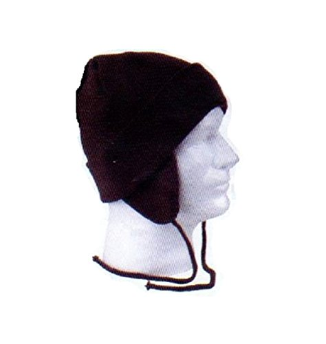 [Black Knit Earmuff Trooper Aviator Hat Winter Trapper Cap Beanie] (Adult Aviator Hat)