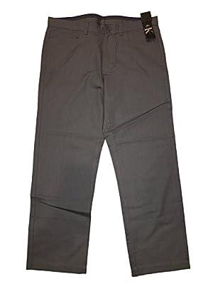 Calvin Klein Men's Black Lifestyle Slim Fit Logo Patch Chino Pants,Black,34W x 30L