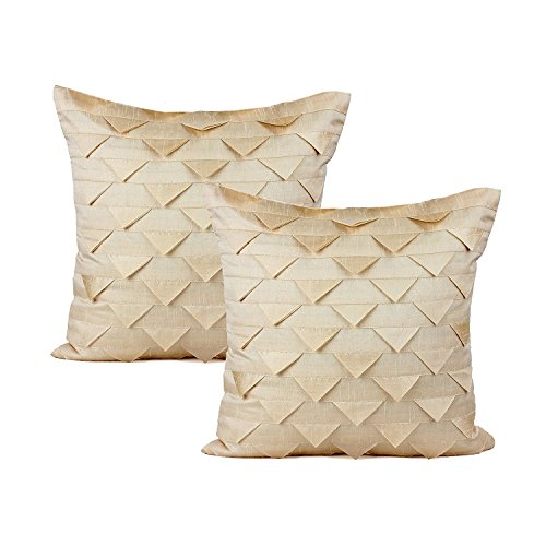 (The White Petals Set of 2 Cream Pillow Covers, Origami Style, Textured (Solid Cream, 16x16 inches))
