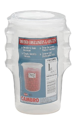 Cambro Bay (Cambro RFS1PPSW3190 1-Quart Round Food-Storage Container with Lid, Set of 3)