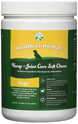 600 Mg Nutrition Herbs - Global Pet Nutrition All-Natural Joint Care Soft Chews With Glucosamine, Msm & Hyaluronic Acid | Also Contains Full Dose Of Hemp Seed Powder & Oil | 120 Chews Great Value