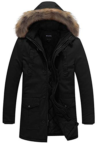 Wantdo Men's Winter Fur Hooded Cotton Outwear Coat US Large Black (Mens Black Parka Coats With Fur Hood)