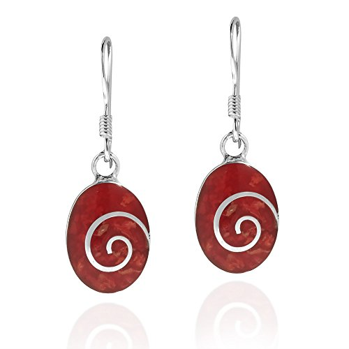Charming Swirl Reconstructed Red Coral Oval Disc .925 Sterling Silver Dangle Earrings