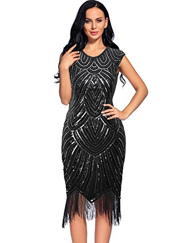 Flapper Girl Women's 1920s Diamond Sequined Embellished Fringed Flapper Dress (L, Black) (Flapper Girls Dresses)