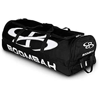 "Boombah Brute Rolling Baseball / Softball Bat Bag - 35"" x 15"" x 12-1/2"" - Black/Black - Holds 4 Bats and Room for Gear - Wheeled Bag"