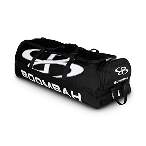 Boombah Brute Rolling Baseball/Softball Bat Bag - 35' x 15' x 12-1/2' - Black/Black - Holds 4 Bats and Room for Gear - Wheeled Bag