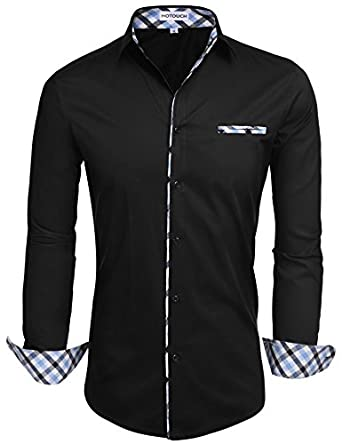 HOTOUCH Mens Long Sleeve Inner Contrast Casual Button Down Shirts ...