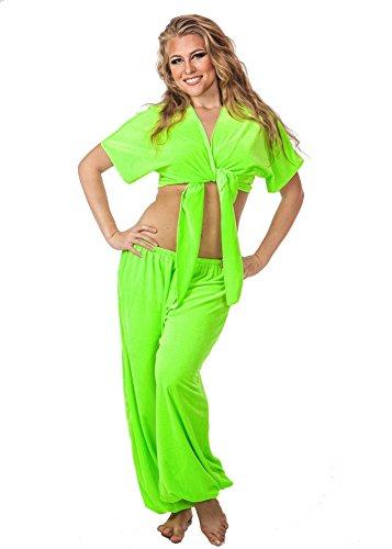 Belly Dance Velvet Choli Top and Harem Pants Velvet Crush (LIME GREEN) (Belly Dance Costumes For Teenagers)