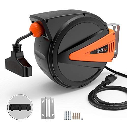 TACKLIFE Retractable Power Cord, 50+4.5ft Extension Cord Reel, 14AWG, 3C SJTOW, 180° Swivel Ceiling or Mounting Metal Slotted Base, Tri Tap Connector, Reset Button and Adjustable Stopper by TACKLIFE