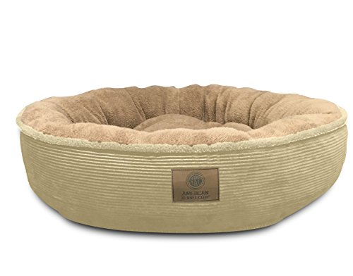 American Kennel Club AKC Ultra Soft Jumbo Corduroy Xl Round Pet Bed, Tan