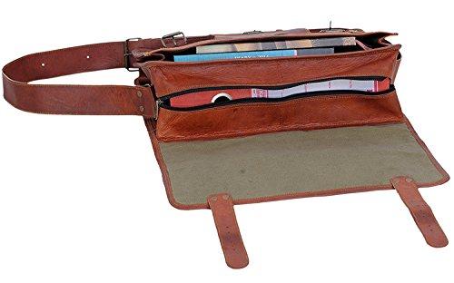 KPL 18 Inch Vintage Men's Brown Handmade Leather Briefcase Best Laptop Messenger Bag Satchel by Komal's Passion Leather (Image #6)