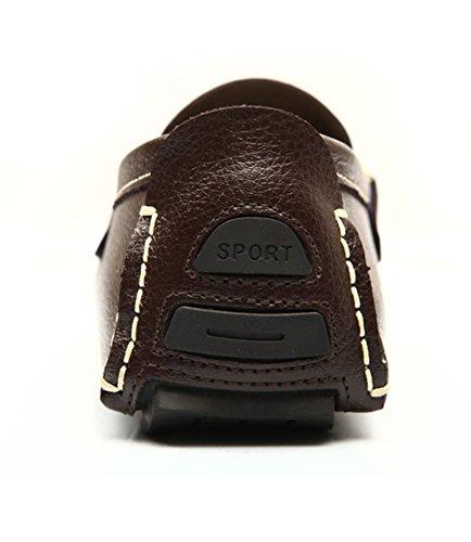 Respirable Zapatos de de Hombre Cuero Studio Del café Zapatos Barco Mocasines SK Calzado Conducción qfRPEwW1xU
