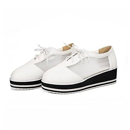 AllhqFashion Damen Schnüren Rund Zehe Mittler Absatz Blend-Materialien Rein Pumps Schuhe Weiß