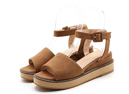 La Universidad NVLXIE 1 5cm Palabra 356cm Verano 0 Hebilla Estudiante Ocio Muchacha Boca Plano Señoras Las 003cm Bottom Confort Pez Retro de Playa Zapatos Sandalias wrf1xqXr8