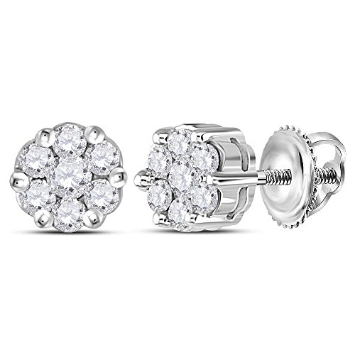 Roy Rose Jewelry 14K White Gold Womens Round Diamond Flower Cluster Earrings 1/4-Carat tw ()