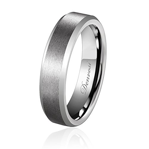 Denvosi 6MM Men Wedding Band Tungsten Ring Matte Brushed Silver Surface...