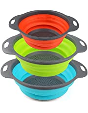 Collapsible Colander URBEST Strainer Set, Food Strainer Round Silicone Kitchen for Draining Pasta, Vegetable and Fruit 2 pcs 4 Quart and 1 pcs 2 Quart