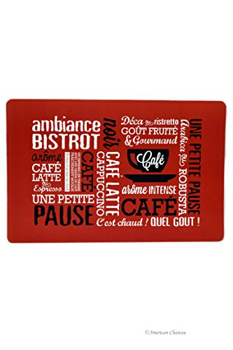 American Chateau Set 4 Red Paris French Bistro Cafe Kitchen Table Place Mats Placemats Decor