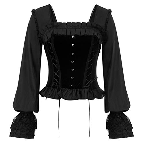 Women Victorian Long Sleeve Blouse Tops Gothic Overbust Bustier Black M
