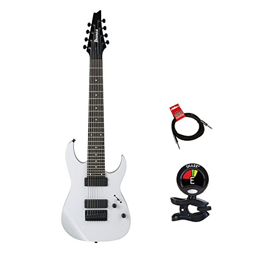 Ibanez RG8WH Solid Body 8 String Modelneck Electric Guitar Package in White with Guitas Clip On Tuner and Instrument Cable – Electrics Guitars Package