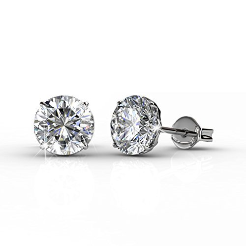Cate & Chloe Mallory 18k White Gold Stud Solitaire Earrings with Swarovski Crystals, Classic Shiny Round Cut Swarovski Crystals, Wedding Anniversary Fashion Jewelry - Hypoallergenic - MSRP $108