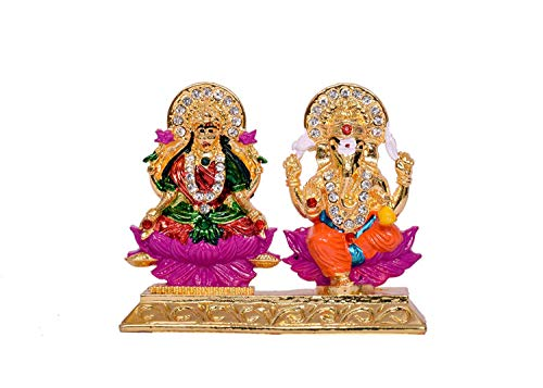 - RUDRA DIVINE Lakshmi Ganesh Golden Idol for Car Dashboard 8 x 10 cm/American Diamond Stone Worked Lakshmi Ganesh Statue Car Dashboard/Home/Office Item