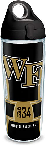 Wake Forest Demon Deacons Bottle - Tervis 1325082 Wake Forest Demon Deacons Spirit Insulated Tumbler with Wrap and Black with Gray Lid, 24 oz Water Bottle - Tritan, Clear