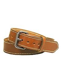 Exos - Cinturón para Pistola (Piel de Nupcial, Acero Inoxidable), Fabricado a Mano en los Estados Unidos