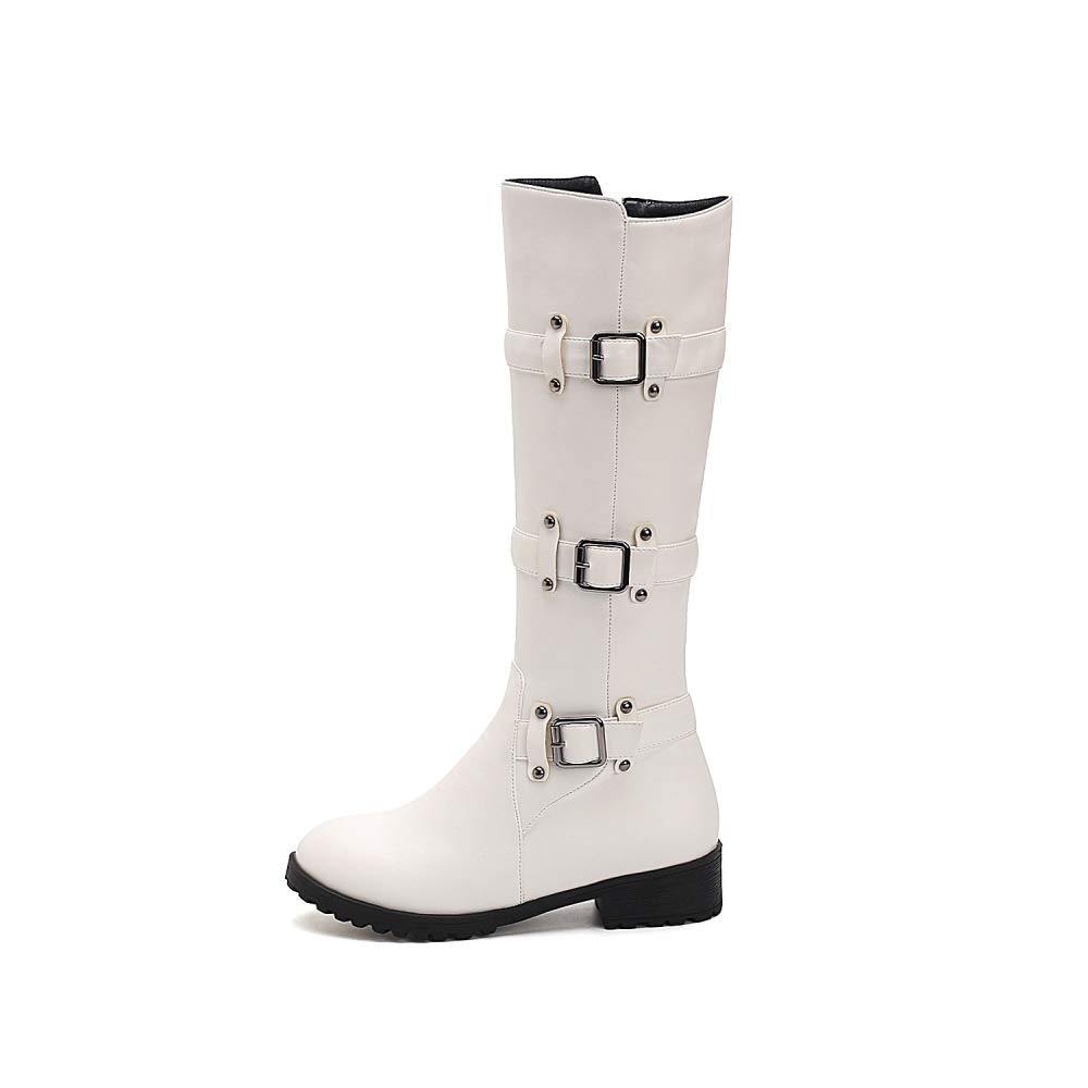 XQY Boots for Women Round Head Large Size Flat Belt Buckle Fashion Boots British Wind Belt Buckle Boots Snow Boots