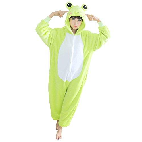 Yimidear® Unisex Cálido Pijama Animales Traje Disfraz Cosplay Ropa de dormir Kigurumi Onesie Halloween y Navidad Verde Rana