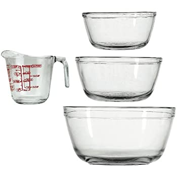 Anchor Hocking 4-Piece Mixing Bowls and Measuring Cup Set