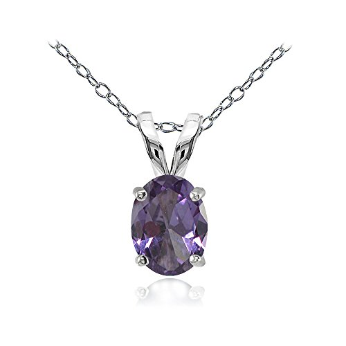 Sterling Silver Simulated Alexandrite 8x6mm Oval Solitaire Necklace