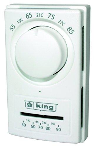 King Electric K600S 240/277 Volt Double Pole Line Voltage Thermostat, White (Double Pole Line Voltage Thermostat)