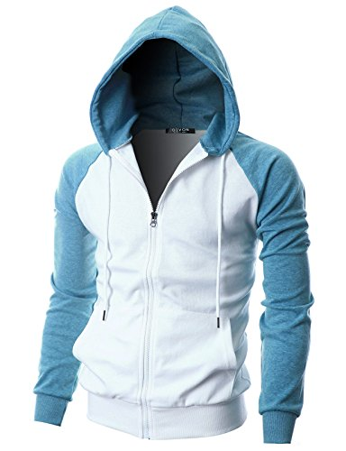 GIVON Mens Slim Fit Long Sleeve Lightweight Raglan Zip-up Hoodie with Kanga Pocket/DCF017-SKYBLUE-XL