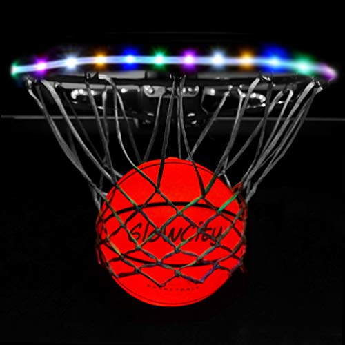 GlowCity Light Up LED Rim Kit with LED Basketball Included - Multi Color, Size 7 Basketball (Official Size)