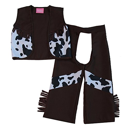 Classic Cowboy Chaps & Vest (2/4, Dark Brown/Black) (Child Cowboy Chaps)