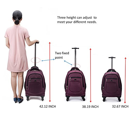 ad412e1c7 Racini Nylon Waterproof Rolling Backpack, Freewheel Travel School Wheeled  Backpack, Carry-on Luggage