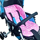 Pink White Polka Dot Seat Liner Cushion Soft Pad for Silver Cross Baby Toddler Child Strollers - Joggers - Pushchairs - Buggies - Prams - Bassinets