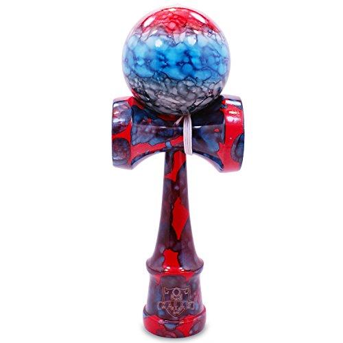 Kaleb USA Full Super Hero Red, Blue, Black Marble Kendama And Extra String
