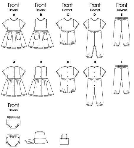 Butterick Patterns b5624/Grande Taille L-XL Enfants Robe Pull Barboteuse Combinaison Culotte Chapeau et Sac Lot de 1 Blanc