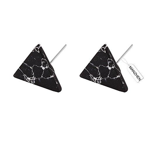 MANZHEN Punk Simple Geometric Marble Stone Earrings Black White Howlite Stud Earrings Triangle Stud