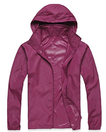 Lanbaosi Women's Lightweight Jacket UV Protect+Quick Dry Windproof Skin Coat Purplish red Size S