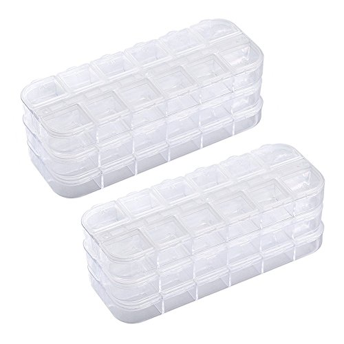 (6 Pieces Nail Art Tool Jewelry Storage Box, 12 Compartments Plastic Rhinestone Organizer Container Case, Display Containers)